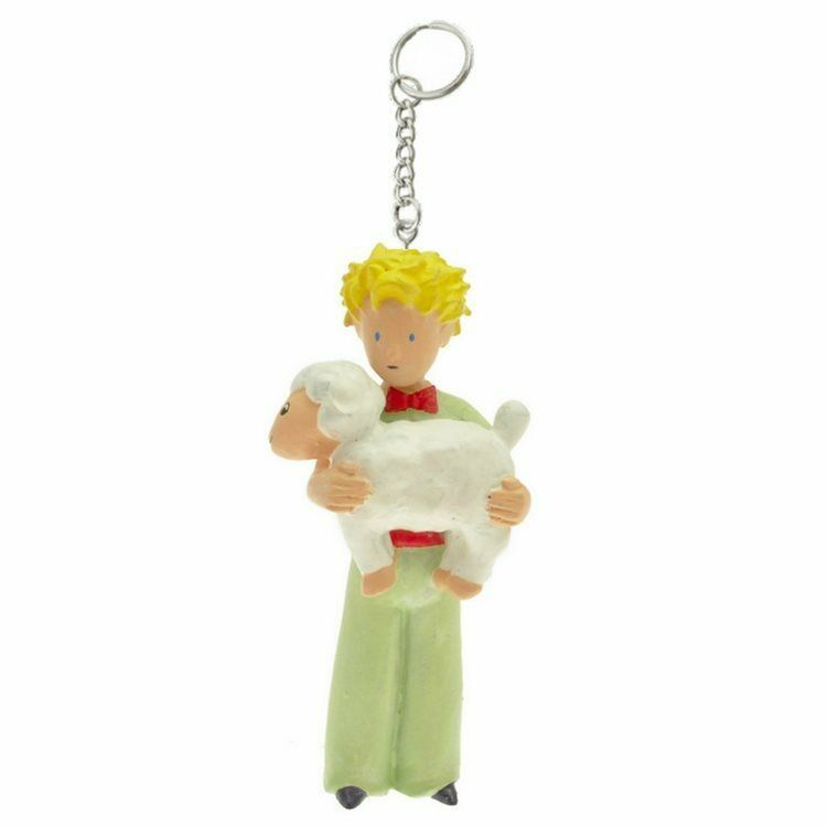 THE LITTLE PRINCE AND LAMB PLASTIC FIGURINE KEY RING PLASTOY