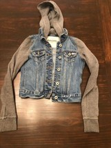 Abercrombie Kids Jean Jacket With Gray Sweater Sleeve And Hood Size Med - $12.86
