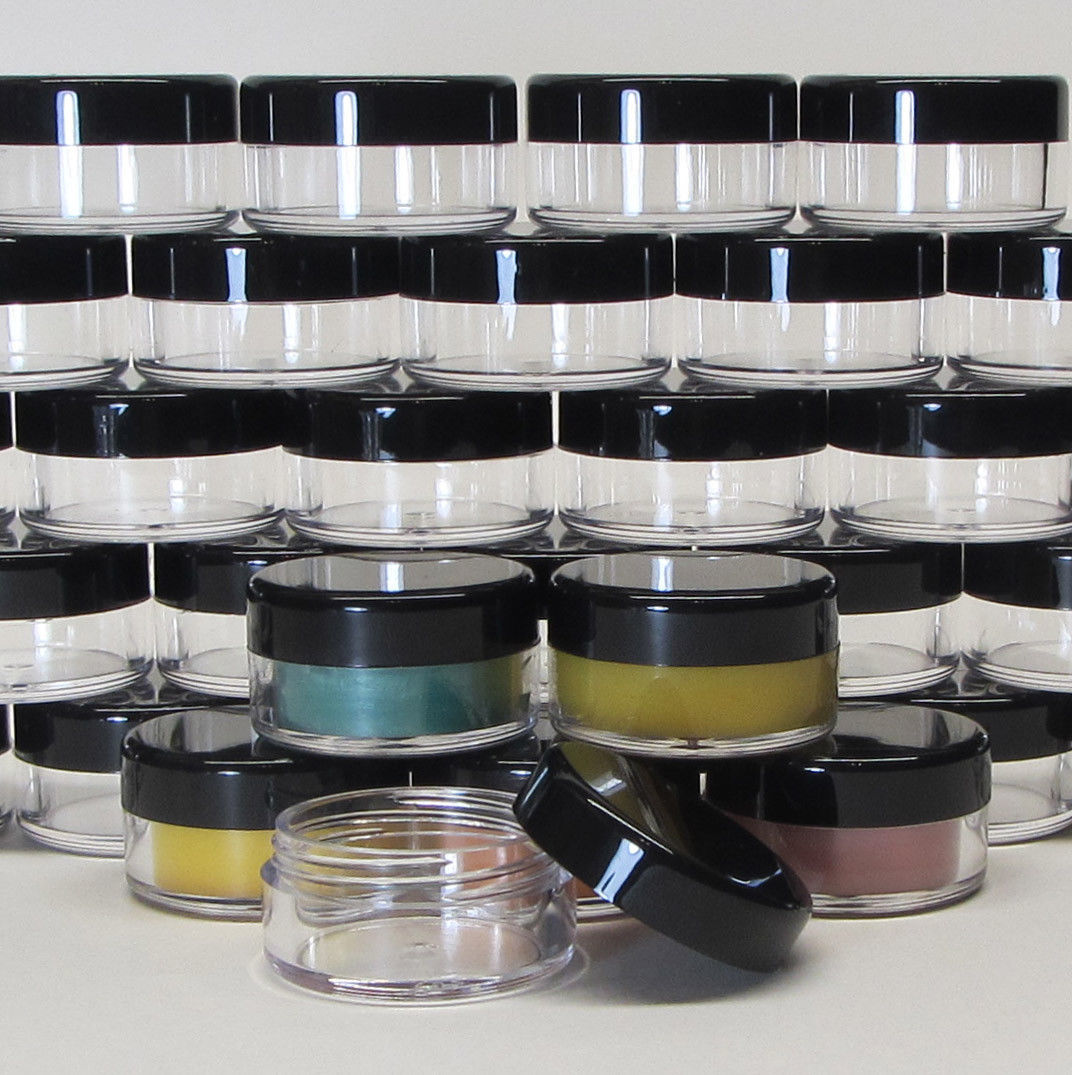 Primary image for 25 Cosmetic Jars 10 Gram Plastic Beauty Container Black Lid Lip Balm Pot #5068