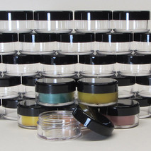 25 Cosmetic Jars 10 Gram Plastic Beauty Container Black Lid Lip Balm Pot... - $18.95
