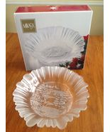 Mikasa Christmas Winter Dreams Frosted & Clear Glass Large Bowl NIB - $7.99
