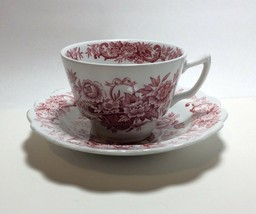 Ridgway Staffordshire Pink Red Old English Bouquet Tea Cup & Saucer Set - $7.90
