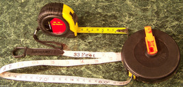 2pc Tape Measure Sae And Metric 16 Foot Locking And 33 Ft Roll Up Reel Measuring - $9.99