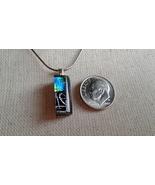 Dichroic Glass Pendant Fused Handmade Jewelry Unique Green Silver Blue U... - $14.95