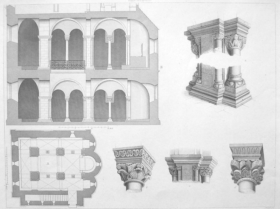 Primary image for GERMANY Chapel in Landsberg Castle Plan & Details of Capitals - Antique Print