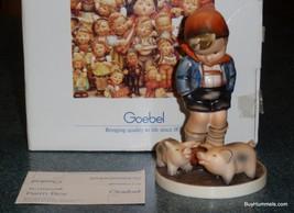 """Farm Boy"" Goebel Hummel Figurine #66 TMK6 Little Boy With Piglets With ... - $155.19"