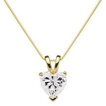 14K Solid Yellow Gold Pendant Necklace | Heart Cut Cubic Zirconia Solita... - $194.66