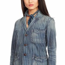 Polo Ralph Lauren Indigo-Dyed Pinstripe Jean Jacket Size Medium Coat  - $69.99