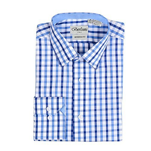 Men's Checkered Plaid Dress Shirt - Dark Blue, Small (14-14.5) Neck 32/33 Sleeve