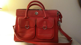 DOONEY & BOURKE Clayton CROSS BODY  RED Leather Tote Satchel Front Pockets - $153.45