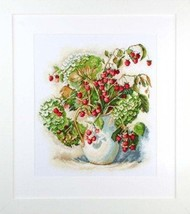 Counted Cross Stitch Hand Embroidery Kit Hydrangea and Raspberry - $36.76