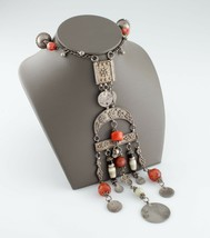 Nice Vintage Silver Bedouin Necklace w/ Coral Beads 93.2 grams - $411.64