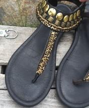 Women's Report Anja Leather T Strap Gladiator Black Leather Jewel Sandal... - $23.14