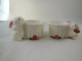 Vintage Avon Bunny Taper Candle Holders Ceramic Rabbit Easter Unused in Box - $9.89