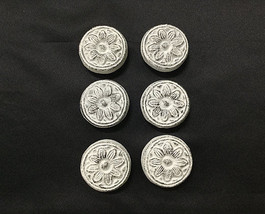 Set of 6 Cast Iron Antique White Sunflower Drawer Pulls, Cabinet Knobs - $24.74