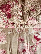 Pottery Barn Khaki Red Floral Duvet Cover Queen 2 Standard Quilted Shams... - $139.00