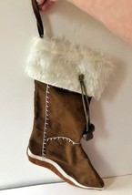 Christmas Stocking Winter Boot Design White Faux Fur Dangle Jingle Bells... - $29.09