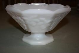 Vintage Anchor Hocking Harvest Milk Glass Octagon Panel Stemmed Fruit Bowl - $10.68