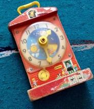 True Vintage 1968 Fisher Price Musical Teaching Clock Toy Music Box Work... - $9.90