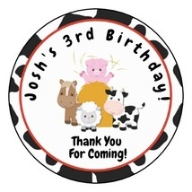 """12 Personalized Barn Farm Party Birthday Stickers Favors Labels tag 2.5""""... - $8.99"""