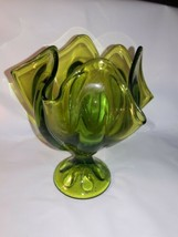 VINTAGE PEDESTAL PATTERNED GLASS COMPOTE CANDY DISH Bright Green Unusual - $11.39