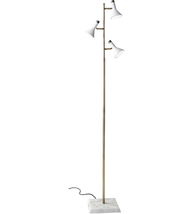 Adesso 3289-02 Floor Lamps White and Antique Brass Metal Marble Bennett - $250.00