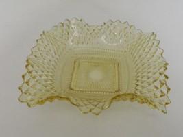 Yellow Indiana Glass Diamond Point Ruffled Square Bowl Bon Bon Candy Dish - $14.84