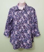 Chaps Woman Ralph Lauren Blue Multicolor No Iron 3/4 Sleeve Blouse Plus 1X Shirt - $25.74