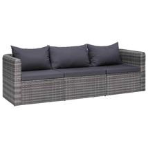vidaXL 3 Piece Garden Sofa Set with Cushions Gray Poly Rattan Outdoor Seat - $281.99