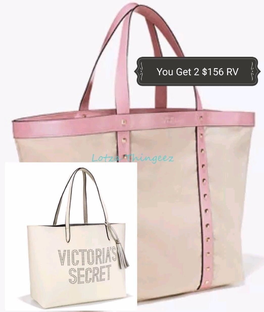 New Victoria's Secret 2-LTD Ed 2017 L White Beach & XL Canvas Tote Shoulder Bags