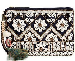 "Steven by Steve Madden ""Fenya"" Beaded Shell Tassel Clutch/Wristlet/Cross... - $52.90"
