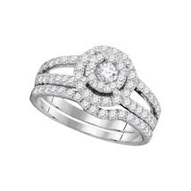 14k White Gold Round Diamond Bridal Wedding Engagement Ring Band Set 1.00 Cttw - $1,499.00