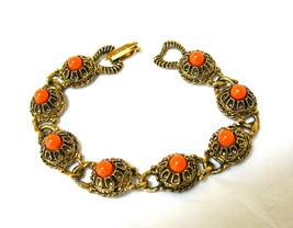 Victorian Revival Bracelet, Filigree Links, Antiqued Gold Tone, 1960s, O... - $16.00
