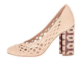 Tory Burch Grove Woven Pumps Heels Beige Size 9 Pre Owned - $183.99