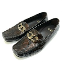 Stuart Weitzman Croc Embossed Patent Leather Loafers Slip On Shoes Womens 7.5 - $36.75