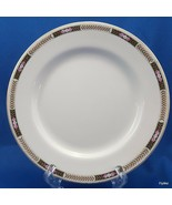 "Johnson Brothers Dessert Pie Plate Black Tan Laurel Pink Flowers JB45 7"" - $7.43"