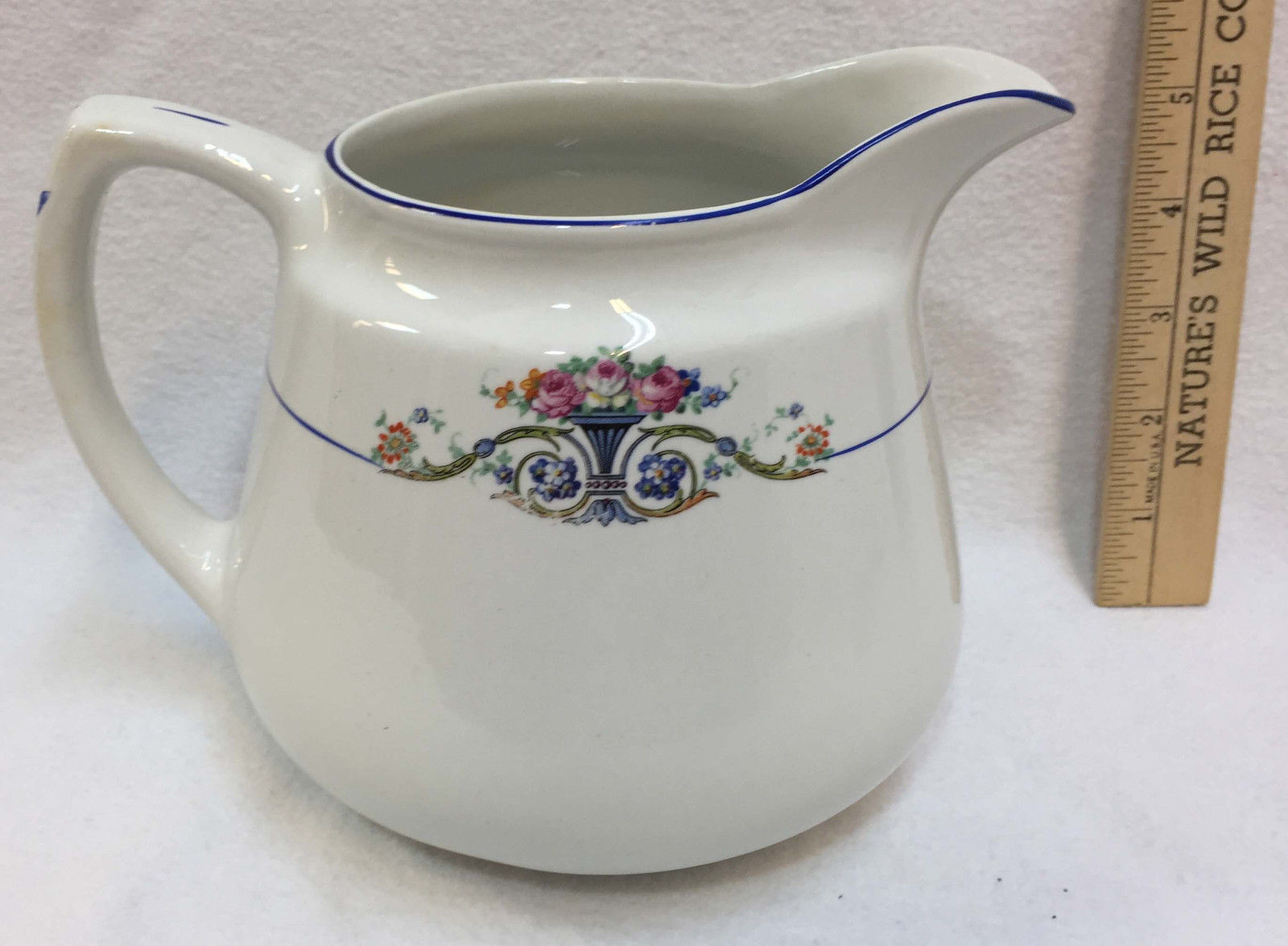 Pitcher Carrollton China White w/ Floral Flower Design Cobalt Blue Trim Vintage