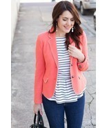 Gap Women's Size 18 The Academy Blazer Jacket Pique Fire Coral - $64.35