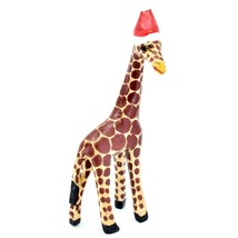 Hand Carved & Painted Jacaranda Wood Santa Hat Giraffe Safari Christmas Figurine image 1