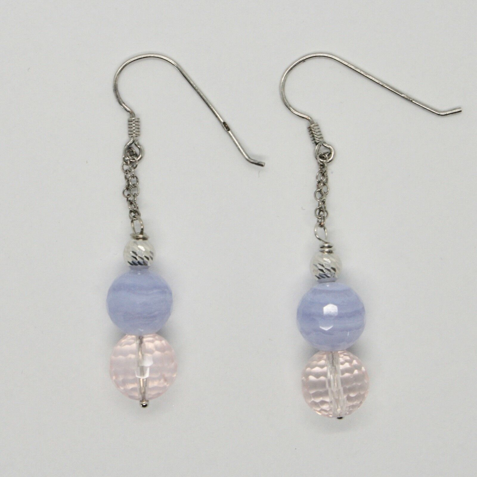 Silver Earrings 925 Rhodium Hanging Pink Quartz Faceted and Chalcedony
