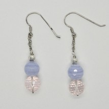 Silver Earrings 925 Rhodium Hanging Pink Quartz Faceted and Chalcedony image 1