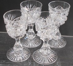 4 Signed Libbey liquor American Brilliant Period hand Cut Glass blown - $172.63