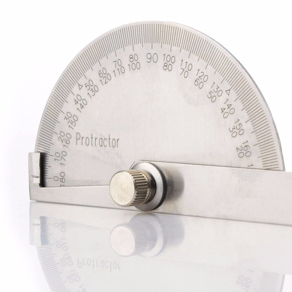 100mm Stainless Steel Protractor Round Angle Finder Craft Arm Ruler Measure Tool