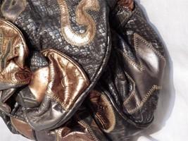 So Cool Leather Shoulder Bag Black Pewter Copper Moc Snakeskin NAS Possibly - $27.72