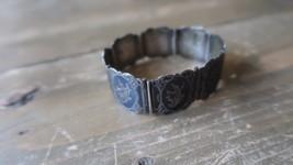 """Vintage Siam Sterling Silver Dancer Black Panel Link Bracelet 6.75"""" x 2.1cm - $59.39"""