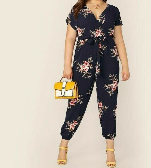 Surplice Wrap Botanical Floral Print Belted Jumpsuit Romper Playsuit Plus Size