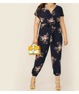 Surplice Wrap Botanical Floral Print Belted Jumpsuit Romper Playsuit Plu... - $49.49