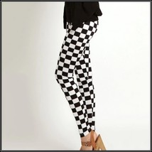 Checkered Black and White Skin Tight Stretch Pants Leggings Sized to Fit You image 2