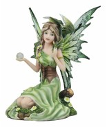 "7"" Summer Princess Flower Fairy and Dragon Mystical Statue Figurine Meadow - $39.57"