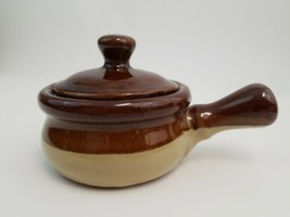 Drip Brown Stoneware Mini Crock with Lid Handle 4.25 Inch x 2.25 Inch  - $29.39